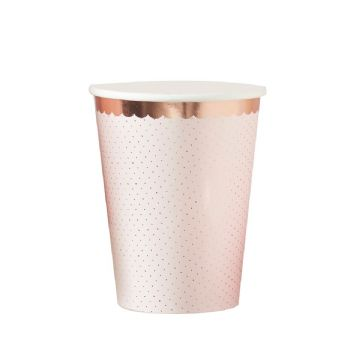 Pink Polka Dot & Rose Gold Paper Cups - pack of 8